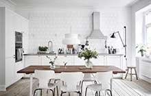 夏季清爽白色厨房