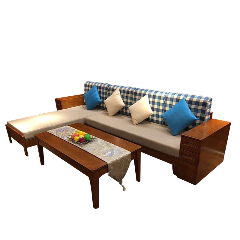 阔迩登 全实木加布艺沙发+茶几 型号:BW5108